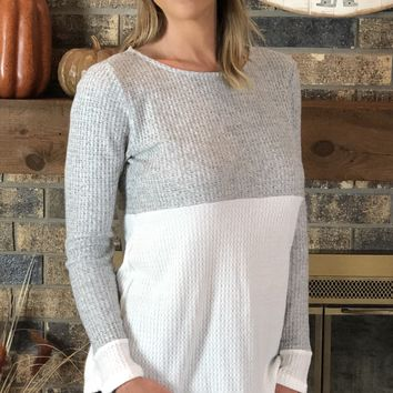 Heather Grey Color Block Brushed Knit Top