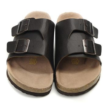Birkenstock Leather Cork Flats Shoes Women Men Casual Sandals Shoes Soft Footbed Slippers-168