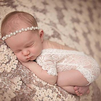 (KLV) 2017 Baby Cute Romper Overall Pixie Lace Newborn Photography Props Princess Girl APR5_17