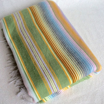 Pastel Mexican blanket/ vintage woven Mexican serape with fringe/ boho bohemian decor/ pastel striped throw blanket