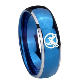 8MM Glossy Blue Dome Honey Bee Tungsten Carbide 2 Tone Laser Engraved Ring