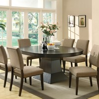 7 pc Myrtle collection modern style coffee brown finish wood oval pedestal dining table set