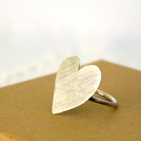 Sterling Silver Valentines Heart Ring by Nafsika on Etsy