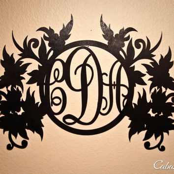 Custom Engraved Wood Initials Monogram Fancy Floral Wall Decor