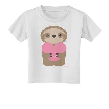 Cute Valentine Sloth Holding Heart Toddler T-Shirt by TooLoud