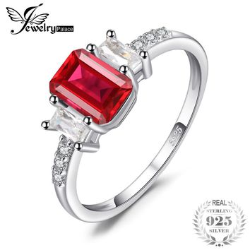 4.4ct Emerald Cut Created Ruby CZ Engagement Ring Sterling Silver