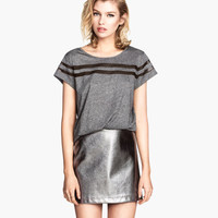 H&M - Top with Mesh Stripes - Dark gray - Ladies