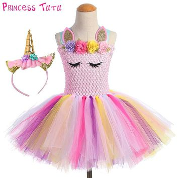 Fluffy Bustle Girl Unicorn Tutu Dress with Headband Baby Kids Flowers Unicorn Theme Birthday Party Outfit Pony Halloween Costume