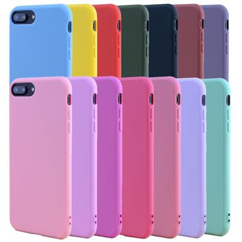 ALANGDUO Candy Color TPU Rubber Silicone Case for iPhone 7 7Plus Matte Frosted Soft Cover Protection Case for iPhone 8 6 6S Plus