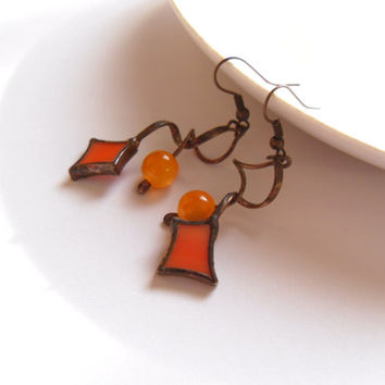Wire jewelry, glass beaded earrings, orange beads, birthday gift, copper wire earrings, dangle earrings, funky jewelry, Honey