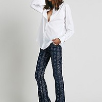 Free People Womens Silver City Foiled Flare - Indigo Blue