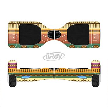 The Aztec Tribal Vintage Tan and Gold Pattern V6 Full-Body Skin Set for the Smart Drifting SuperCharged iiRov HoverBoard
