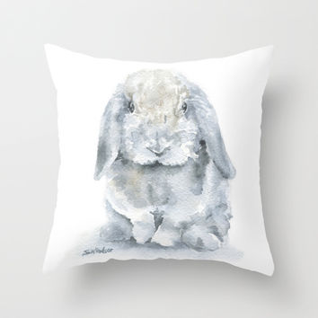 Mini Lop Gray Rabbit Watercolor Painting Throw Pillow by Susan Windsor