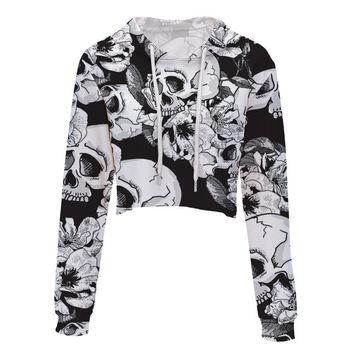 Womens Short Hooded Hoodies Sweatshirts skull Floral Print Crop Top Hoodie Casual Long Sleeve Sweatshirt