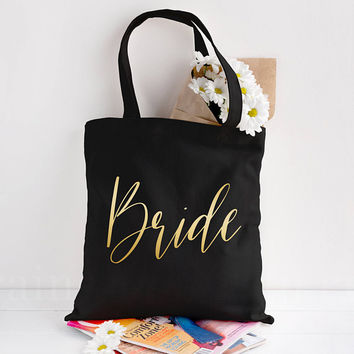 Gold Foil Tote, Bride Tote Bag, Canvas Bag, Canvas Tote Bag, Bridesmaid Tote, Bridal Tote, Wedding Tote, Bridesmaid Gift, Bridal Party Gift