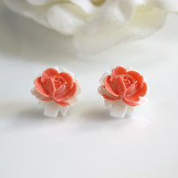 White and Coral Red Garden Rose Bud Flower Earring Post. Spring Floral Ear Stud Jewelry Ear accessories