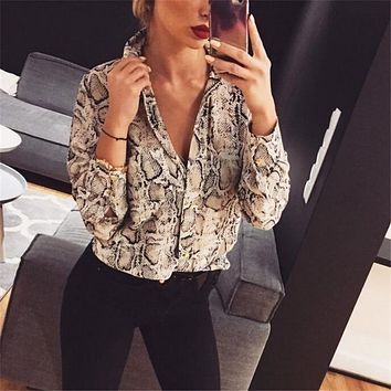 Leopard/Snake Skin Printed Long Sleeve Blouse