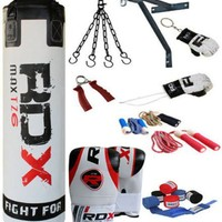 RDX 13 Piece Boxing Set 5FT 4FT Filled Heavy Punch Bag with Gloves & Swivel