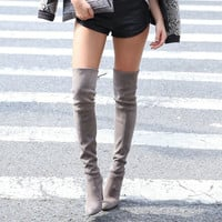 Women boots High Heels Stretch Faux Suede Slim Thigh High Boots Sexy Fashion Over the Knee Boots Woman Shoes