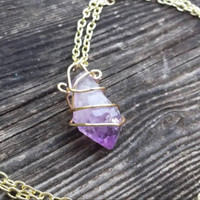 Genuine amethyst necklace gold wire wrapped crystal February birthstone 20 inch long boho handmade