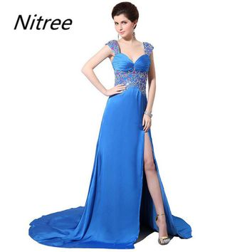 Gorgeous Dark Blue Long Prom Evening Dresses Sweetheart Neck Appliques Sequins Pleats Sexy Front Slit Vestido De Festa Longo
