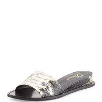 Megan Internal-Wedge Sandal, Platino - Delman