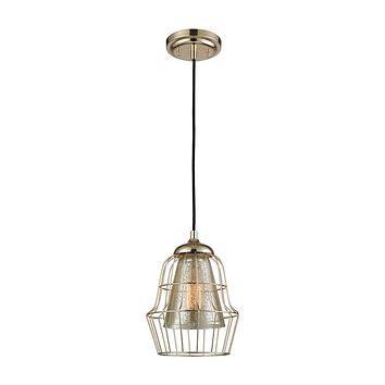 14266/1 Yardley 1 Light Pendant In Polished Gold With Mercury Glass