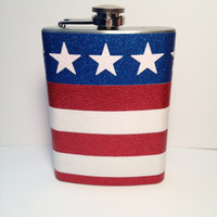Red white and blue glitter flask