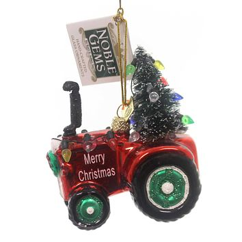Noble Gems TRACTOR WITH  TREE Glass Ornament Merry Christmas Nb0884