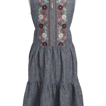 Girl's Tea Collection 'Antonella' Embroidered Chambray Midi Dress,