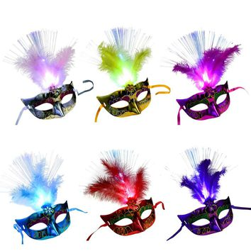 78886cca977f0 HOT Women Venetian LED Fiber Sexy Mask Masquerade Fancy Dress Party Princess  Feather Masks For Masquerade