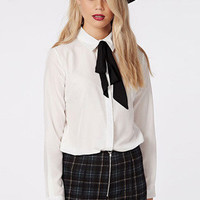 White Lapel Long Sleeve Blouse with Black Bow