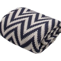 Serin Chunky Knit Throw in Navy Blue