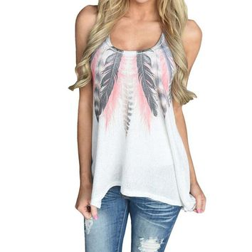Women's Casual White Indian Feather Sleeveless Summer Time Tank Top