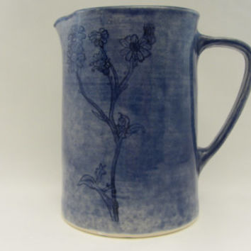 Pitcher, Handmade Ceramic, Clear Dark Blue with Wildflowers