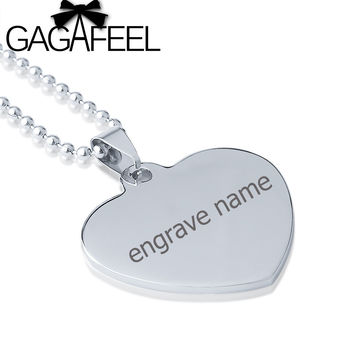 GAGAFEEL Stainless Steel Lover Heart Pendant Necklace Engrave Name DIY Logo Boy Girls Couples Love Best Gifts