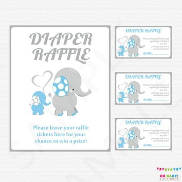 Blue and Gray Baby Shower Elephant Baby Shower Boy,  Elephant Diaper Raffle Tickets AND Sign, Diaper Raffle Cards, Printable Download, ELLBG