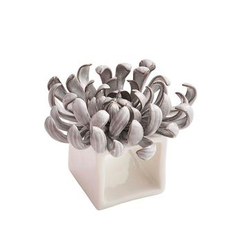 Ceramic Flower Napkin Ring in Grey - Set of 4