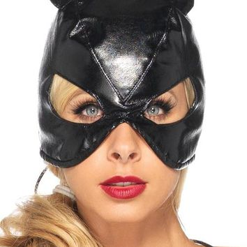 Cat Costume Mask Faux Leather Black