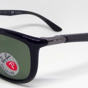 RAY BAN POLARIZED LENS RB8351-F 6218/9A SQUARE WRAP AROUND BLACK GRAY SUNGLASSES