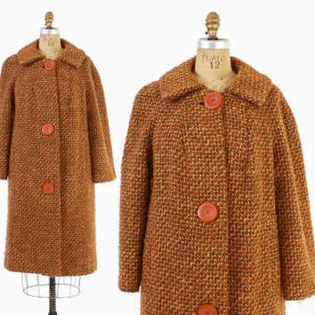 Vintage 60 WINTER COAT / 1960s Burnt ORange Boucle Wool Big Button Jacket L