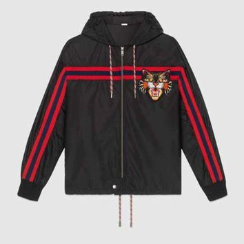ICIKSP2 GUCCI Women/Men Nylon windbreaker with Angry Cat applique