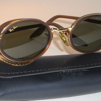 VINTAGE B&L RAY BAN W2814 BROWN/GOLD COMBO G15 UV OVAL DINERs SUNGLASSES SUPERB!