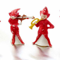 Christmas Elf Band German Porcelain Bisque 1920s Set of 4 Red Musician Pixies Orchestra Conductor Horn Clarinet Player Violin Fiddle Player