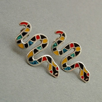 VINTAGE Sterling MOSAIC Turquoise SNAKE Earrings Earring Studs Mexican Taxco Pierced Ears Hallmarked c.1980s