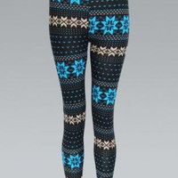 Blue Woolen Knit Leggings with Snowflake Pattern