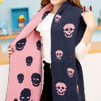 Skull Pattern Winter Warm Scarf Cape Wrap Shawl
