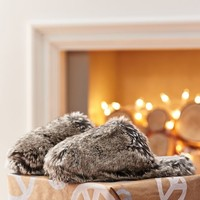 Faux Fur Slippers, Grey Ombre