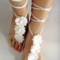 10% discount with coupon code SLAVENA Barefoot SANDALS, Crochet White Flowers, Nude Summer Shoes, Bohemian Jewelry, Beach Wedding Anklets