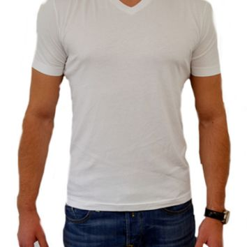 George Roth V-Neck T White